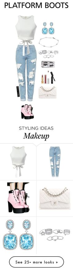"""Girls Day Out"" by april-vang on Polyvore featuring Current Mood, Topshop, Kiki mcdonough, WithChic, Lipsy, Tiffany & Co., Chiara Ferragni, Chanel, Anastasia Beverly Hills and Yves Saint Laurent"
