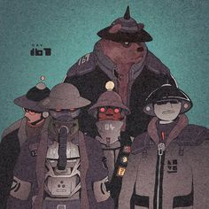 Day 167/365: The Choir... #artofvisuals #illustration #drawing #drawingchallenge #heavy #drawingoftheday #characterdesign #originalcharacter #bear #ink #day167 #365project #comic #cool #powers #texture #experiment #漫画 #コミック #イラスト #アート #キャラクター #デザイン #ペン #インク #dirtyrobot #pacman #dreamteam #gasmask by dirtyrobot