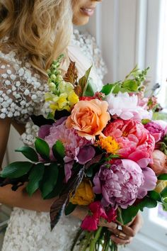 big beautiful blooms More MultiColoured Bouquet Brautstrauß mit Pfingstrosen Morgan Additional Picture of bouquet 1 love the variety of colors but they look dingy. Spring Wedding Bouquets, Peony Bouquet Wedding, Peonies Bouquet, Bride Bouquets, Floral Wedding, Wedding Colors, Flower Bouquets, Summer Wedding, Lilac Wedding Flowers