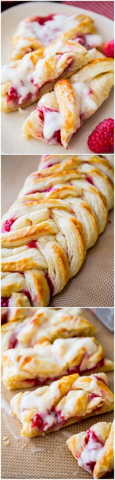 Iced #Raspberry Danish Braids ~ This home made confectionery is one of those desserts you will want to bake again and again!