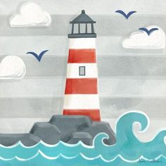 Oopsy Daisy - Canvas Wall Art Let's Set Sail - Lighthouse By Anne Bollman, Size: 21 x Red Kids Canvas, Canvas Wall Art, Hanging Canvas, Buy Canvas, Canvas Ideas, Art Wall Kids, Art For Kids, Art Children, Kids Fun