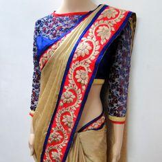 GOLD BLUE RED SAREE & BLOUSE | Varuna Jithesh
