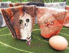 Eierwärmer - Eierwärmer Katzen aus Filz - 2er-Set - Tisch-Deko - ein Designerstück von Fatafelina bei DaWanda