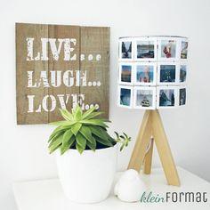 Fotolampe mit Holzfuß LIVE-LAUGH-LOVE