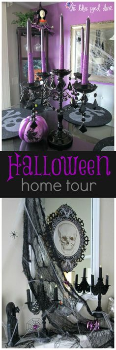 Home Tour Halloween Home Tour - full of glitz, glam and a few things spooky! Halloween Home Tour - full of glitz, glam and a few things spooky! Spooky Halloween, Halloween Home Decor, Halloween 2015, Halloween Party Decor, Holidays Halloween, Halloween Themes, Halloween Crafts, Happy Halloween, Halloween Stuff