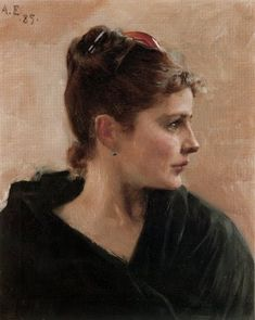 Albert Edelfelt (Finnish painter, 1854-1905)) Portrait of a Young Lady in 1885