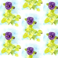 Purple Pansy Watercolor - countrygarden - Spoonflower