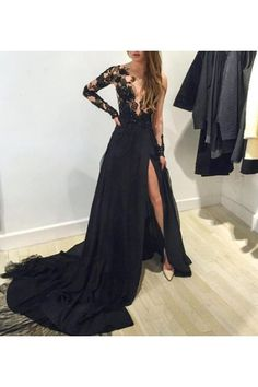 Graceful Court Train Appliques Prom Dress, A-line Prom