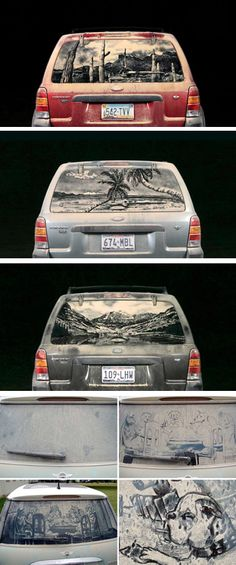 Scott Wade uses a quite unusual surface to express his artistic talents: the back window of cars. He uses dirty cars and turns them into real artworks