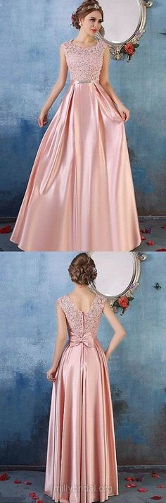 Pink Prom Dresses Long, 2018 Formal Dresses A-line, Scoop Neck Party Dresses Satin Tulle, Lace Evening Dresses Cheap Modest evening Prom Dresses Long Pink, Simple Prom Dress, Prom Dresses For Teens, Prom Dresses 2018, Prom Dresses Online, Cheap Evening Dresses, Cheap Prom Dresses, Party Dresses, Bridesmaid Dresses