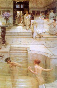 "peinture UK : Alma-Tadema - 1909, ""a favorite custom"", bains romains, nu"
