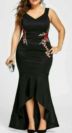 Gamiss Embroidery Roses Mermaid Dress Plus Size Maxi Sexy Black Tank V Neck Long Elegant Party Female Dress Evening Wear Dress Plus Size, Plus Size Maxi Dresses, Cheap Dresses, Sexy Dresses, Plus Size Outfits, Evening Dresses, Fashion Dresses, Fashion Jumpsuits, Peplum Dresses