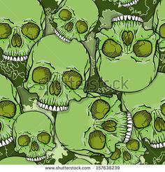 Camouflage Skull Background. Vector Seamless Pattern. by YellowPixel, via Shutterstock