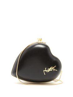 Saint Laurent | Love lighhtly grained black leather cross-body bag | MATCHESFASHION.COM