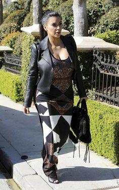 Kim Kardashian wearing BALENCIAGA Suede Velo Valentino 2012 Pre Fall Leather Jacket Givenchy Long Tank Dress Giuseppe Zanotti Embossed-Band Peep-Toe Bootie in Nero