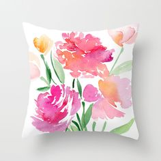 Watercolor Floral Bouquet Throw Pillow Yao Cheng Design (it's not linking correctly here. Linen Pillows, Decorative Pillows, Throw Pillow Cases, Throw Pillows, Pink Cushion Covers, Hand Painted Fabric, Floral Cushions, Pink Peonies, Fabric Painting