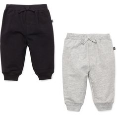2 Pack Cotton Sweat Pants Black/Heather Gray ($28) ❤ liked on Polyvore featuring baby boy, baby clothes and baby