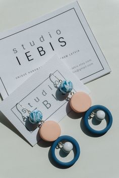 NEW - blue & beige polymer clay drop earrings. Beautiful soft colors, unique design. Minimal and modern spring inspired statement jewelry.