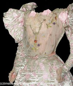 1890's puffy cotton candy dress with matching shoes. Holy toledo, those colors, those sleeves, that blouse.