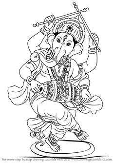 Learn How to Draw Lord Ganesha (Hinduism) Step by Step : Drawing Tutorials Ganesha Sketch, Ganesha Drawing, Lord Ganesha Paintings, Ganesha Art, Krishna Art, Ganpati Drawing, Abstract Pencil Drawings, Outline Drawings, Art Drawings For Kids