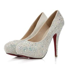 Chunky Heel Bow Closed Toes Crystral Ivory Wedding Shoes Online - FlowerWeddingShoes.com