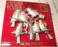 JJ Jonette Jewelry Brooch Pin 4x4 5 cm St Flock 6 Mat Birds Shiny Tree  