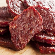 Microwave Beef Jerky - No need for a dehydrator for this recipe. Marinated meat is microwaved similarly to bacon for a chewy, smoky jerky. Dog Treat Recipes, Dog Food Recipes, Simple Beef Jerky Recipe, Canned Meat, Jerky Recipes, Survival Food, Homestead Survival, Emergency Preparedness, Survival Stuff