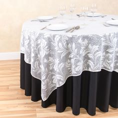 72 in. Square Foliage Sheer Lace Table Overlay