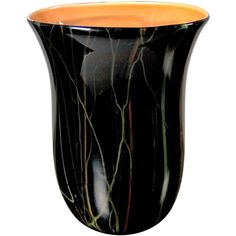 Black glass vase with coral glass interior by Moretti | From a unique collection of antique and modern glass at http://www.1stdibs.com/furniture/dining-entertaining/glass/