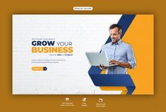 Business promotion and corporate web ban... | Premium Psd #Freepik #psd Youtube Banner Design, Web Banner Design, Web Design, Social Media Banner, Social Media Design, Printable Banner, Banner Template, Event Banner, Custom Banners