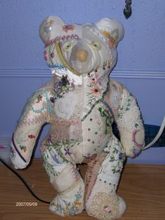 Crazy quilted bear - round robin