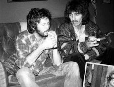 """mysticalbees: """" i-am-heroin: """" Is that Eric Clapton and George Harrison smoking weed together? """" i literally love all pics of george and eric """" Eric Clapton, George Harrison, Warren Beatty, Marcello Mastroianni, Danny Devito, Tony Curtis, Liza Minnelli, Christopher Reeve, Kurt Vonnegut"""