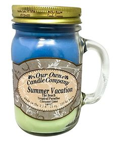 Summer Vacation Scented 13 Ounce Mason Jar Candle By Our Own Candle Company -- For more information, visit image link. (Note:Amazon affiliate link)