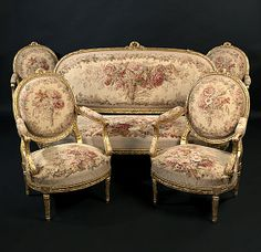 Important Louis XVI Style Giltwood Salon Suite by Francois Linke, French, ca. 1880