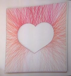Pink heart wall art made from nails and wool! Kirstie's Fill Your Home For F… Pink heart wall art made. Cute Crafts, Crafts To Do, Crafts For Kids, Arts And Crafts, Diy Crafts, Diy Wall Art, Diy Art, Heart Wall Art, Branch Decor