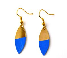 Royal blue and gold geometric earrings- Color block earrings- Neon jewelry- Color dipped dangling earrings on Etsy, $11.08