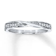 WOMENS .925 STERLING SILVER CZ CRISS-CROSS ANNIVERSARY WEDDING PROMISE BAND RING…