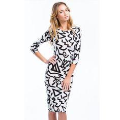 USD11.49Sexy O Neck Three Quarters Sleeves Print Chiffon Knee Length Bodycon Dress