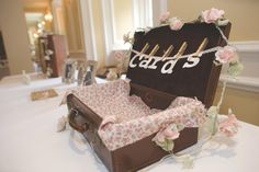 Wedding Cards Suitcase with matching fabric.