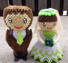 Etsy の Bride Groom 2 3D Origami by OrigamiPhiLong