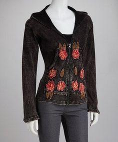 floral zip Hoodie | Take a look at this Black Flower Zip-Up Hoodie by Lumbini Imports on # ...