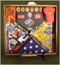 shadowbox display ideas for boy scouts, cub scouts, hs sports, etc