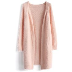 Chicwish Comfy Fluffy Knitted Cardigan in Pink (£41) ❤ liked on Polyvore featuring tops, cardigans, outerwear, sweaters, jackets, pink, pink cardigan, pink top, fuzzy pink cardigan and longline cardigan