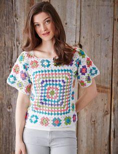 Boho Pullover - Free Crochet Pattern - (yarnspirations)* ༺✿ƬⱤღ https://www.pinterest.com/teretegui/✿༻