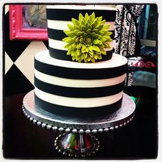 Ivory and black striped cake w green gum paste flower