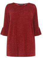 Womens DP Curve Plus Size Red Glitter Flute Sleeve Tunic- Red