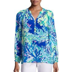 Lilly Pulitzer Elsa Silk Top ($119) ❤ liked on Polyvore featuring tops, apparel & accessories, smocked top, blue silk top, smock top, long sleeve tops and pleated top