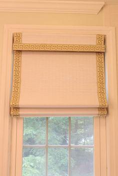 DIY window treatment for nursery - hot pink trim.  By Fran at Green Street Blog.