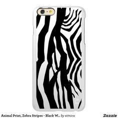 Animal Print, Zebra Stripes - Black White Incipio Feather® Shine iPhone 6 Plus Case
