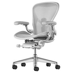 Herman Miller Aeron Office Chair – Size B, Graphite - - Size: Height Adjustable Plus Pivot Arms - Herman Miller Authorized Retailer - Style: Industrial Chair Eames, Swivel Chair, Chair Cushions, Work Chair, Mesh Office Chair, Arne Jacobsen, Graphite, Industrial Office Chairs, Herman Miller Aeron Chair